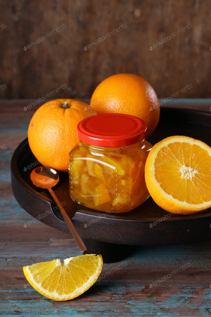 Organic Orange Jam in a Jar