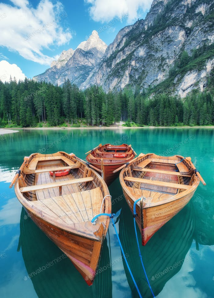 Lago di Braers, Dolomiten Alpen, Italien.