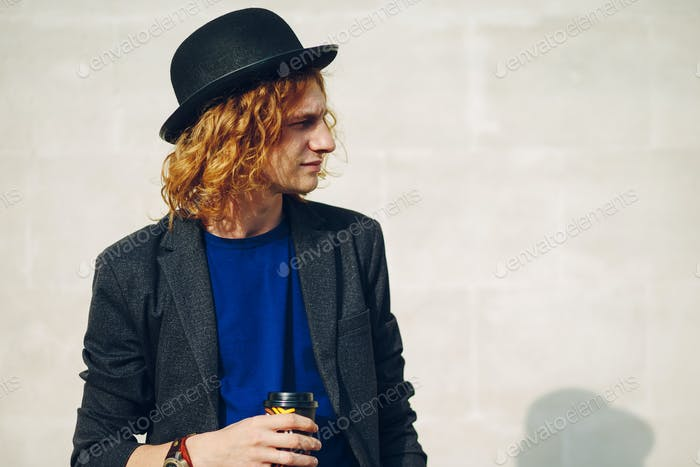 Fashion portrait of young beautiful man