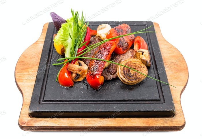 Mexican beef steak with grilled vegetables.