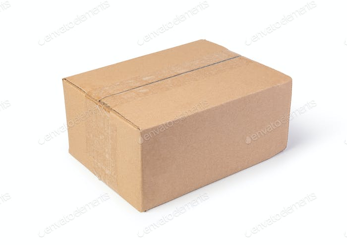 Closed cardboard box on a white background