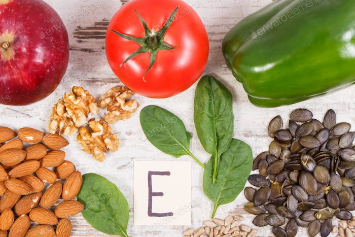 Ingredients containing vitamin E, natural minerals and dietary fiber, healthy nutrition