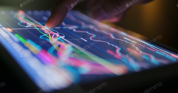 Datos del mercado bursátil en tablet