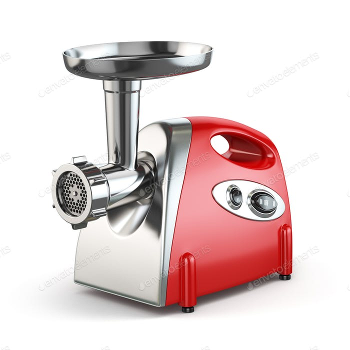 Electric meat grinder isolated on white.