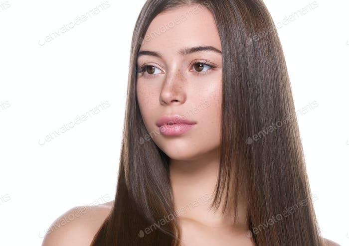Long smooth hair beauty healthy skin woman