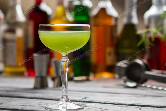 Green beverage in glass