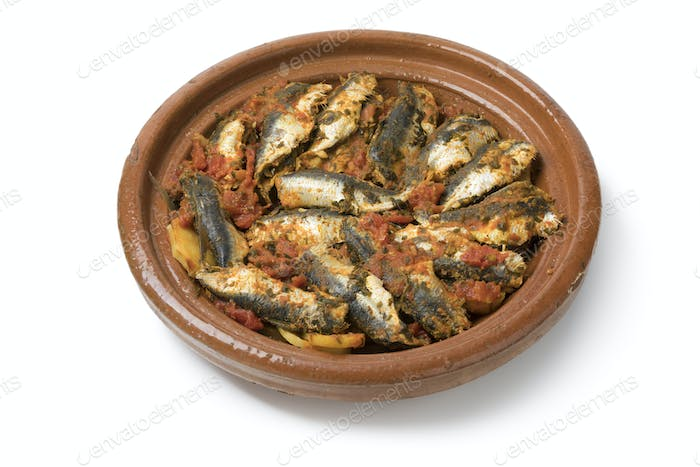 Traditional  Moroccan Tagine with sardines