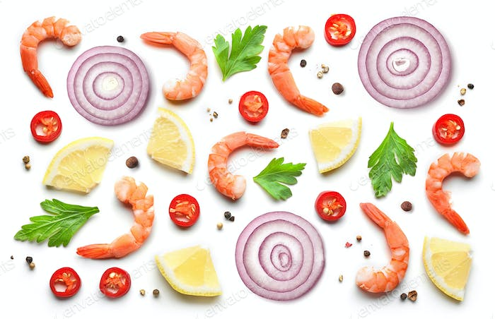 Pattern of prawns and spices