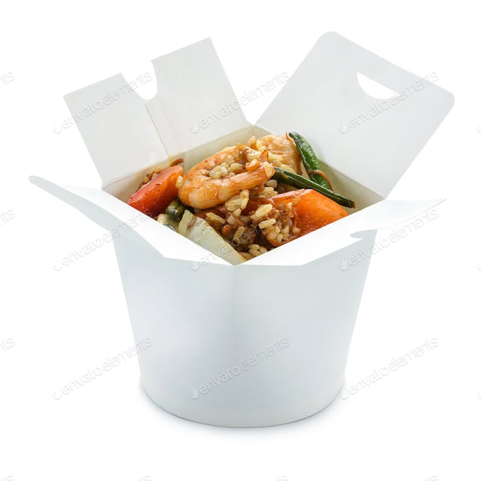 Wok rice with shrimps in take-out paper box over white With clip