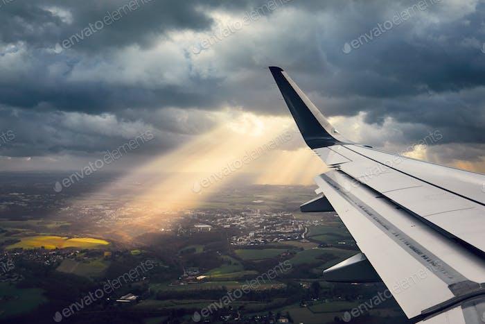 Flugzeug im Sturm
