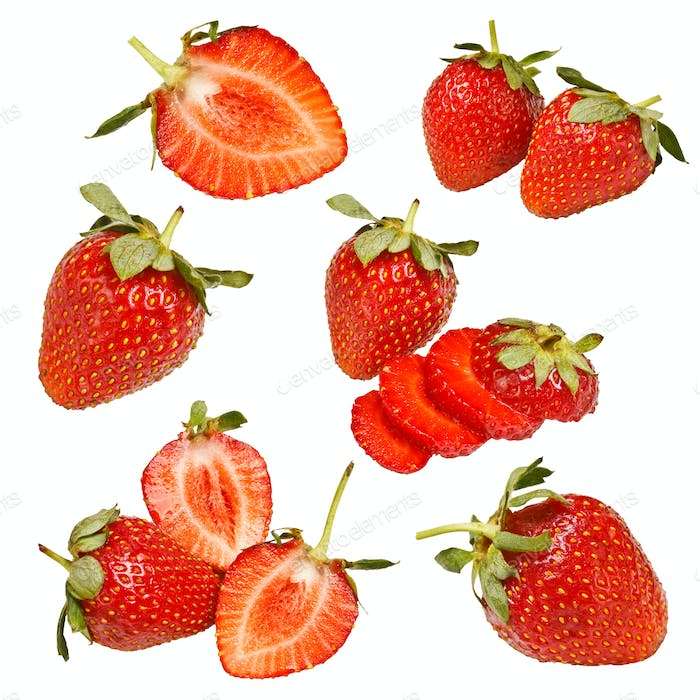 Collection of strawberry fruits