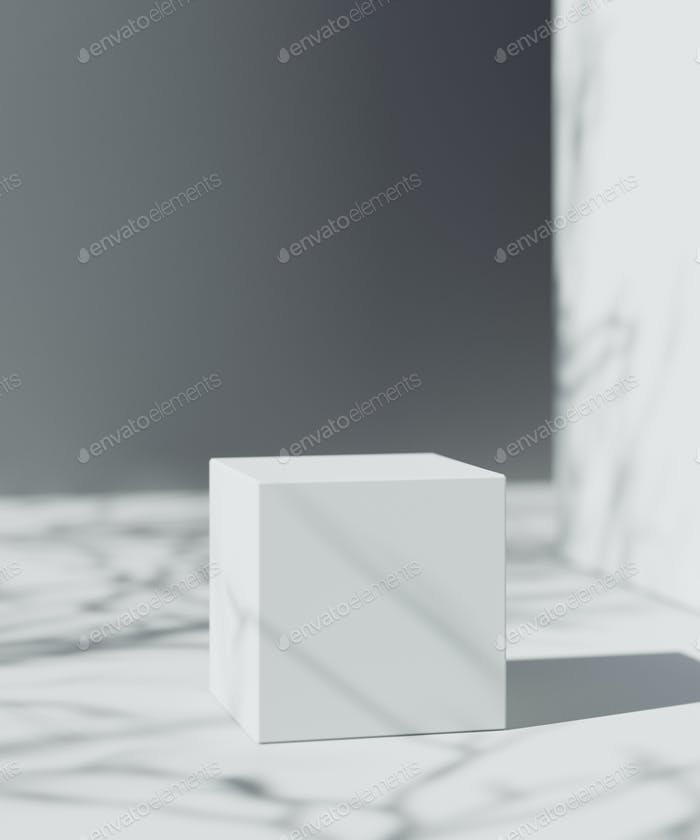 Natural Cosmetic product presentation scene. Ourdoor placement. White cube for product placement. 3d