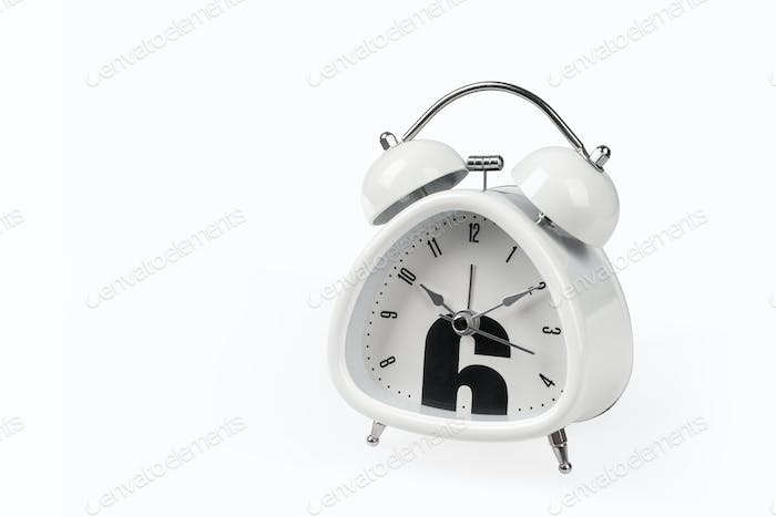 white alarm clock isolated