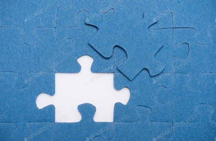 top view of one puzzle missing, business concept