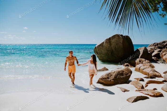 couple relax on beach resort