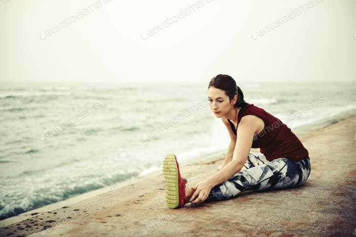 Yoga Exercise Active Beach Outdoor Concept