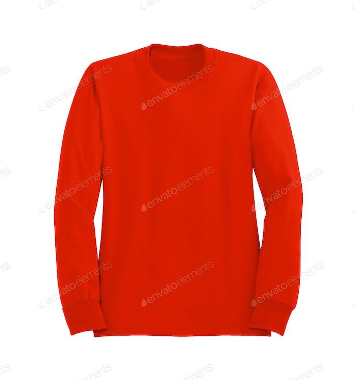 Roter Pullover isoliert auf weißem Hintergrund