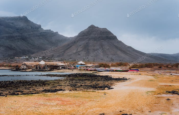Baia Das Gatas. North of Calhau, Sao Vicente Island Cape Verde. Mysterious landscape of sandy