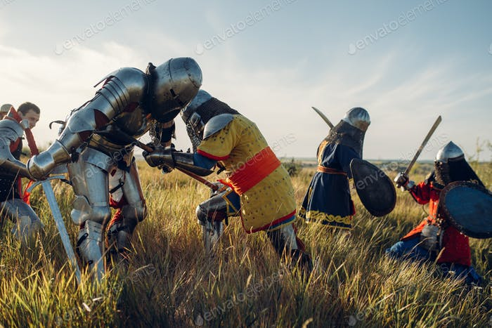 Medieval knights fight, great battle