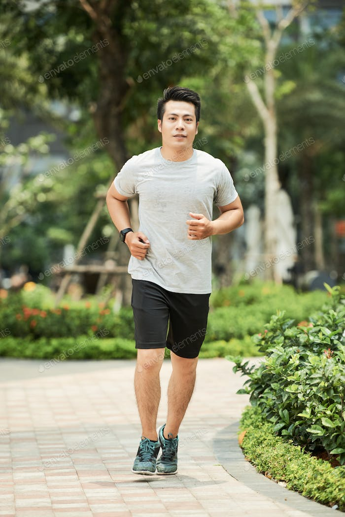 Man jogging in park