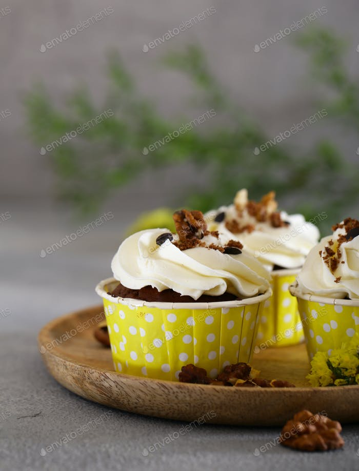 Thumbnail for Cream Cupcakes with Walnuts
