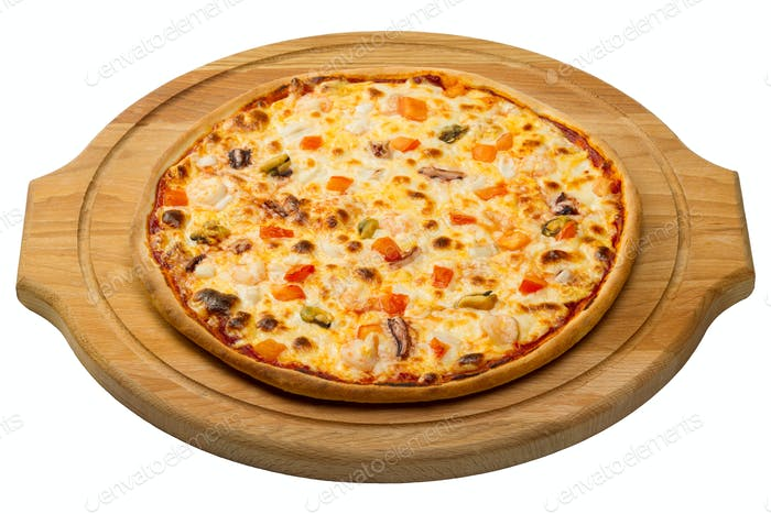 Seafood pizza on a wooden round tray
