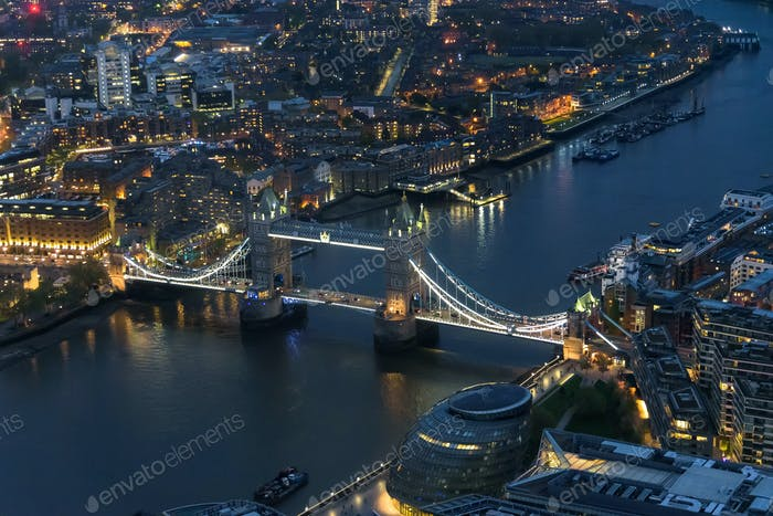 Aerial view of Tower Bridge in London at night