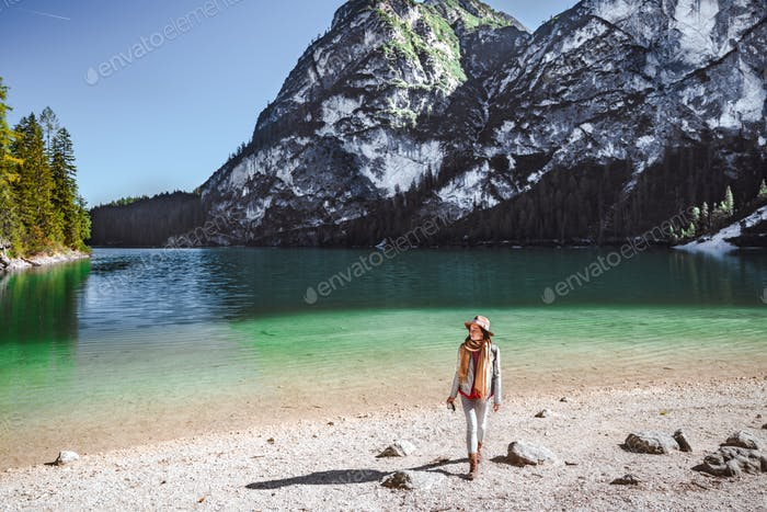 Young photographer at Lake Braies
