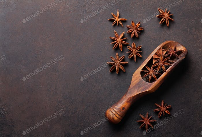 Mulled wine ingredients spices. Star anise