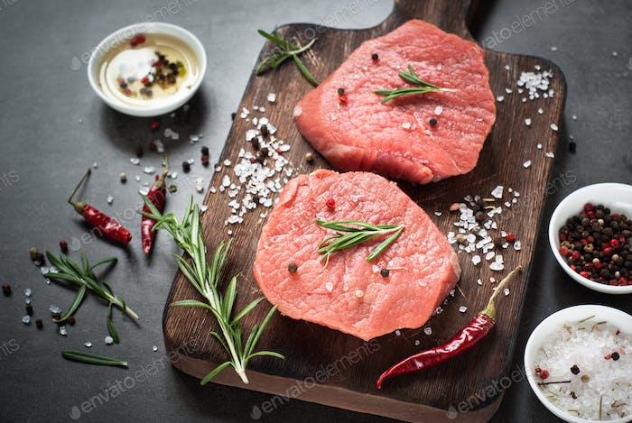 Raw beef steak on a cutting board