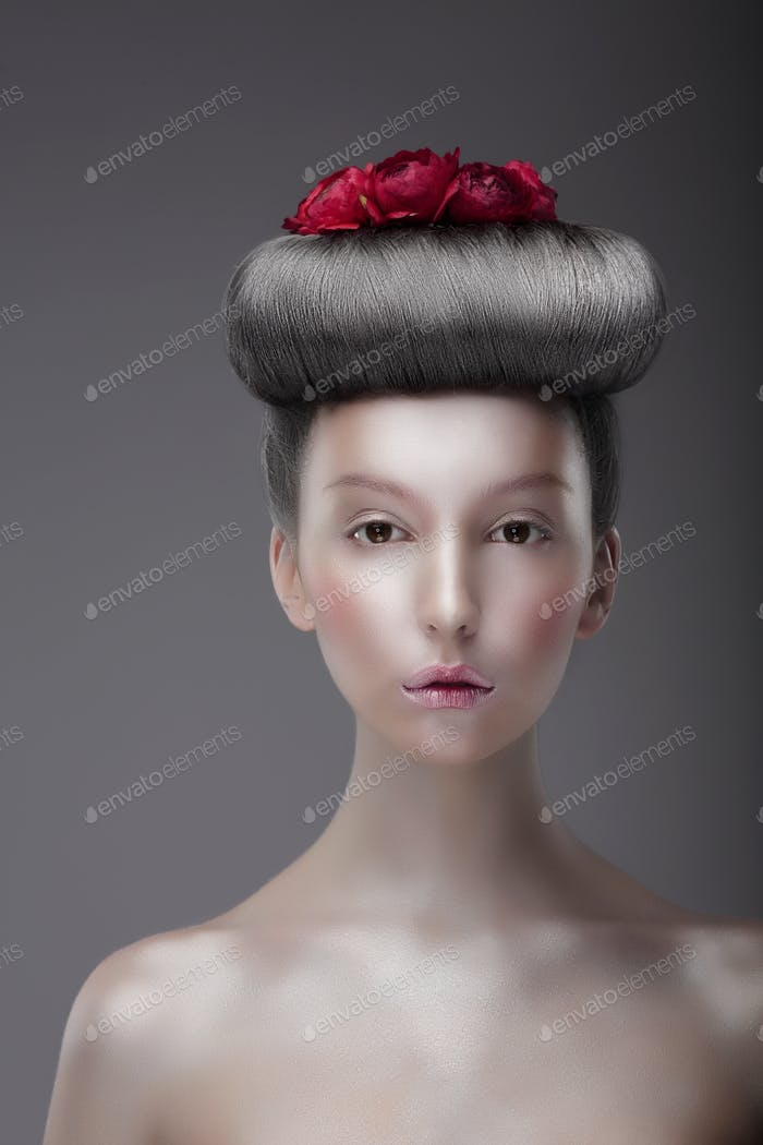 Portrait of Asian Woman with Futuristic Floral Hairstyle
