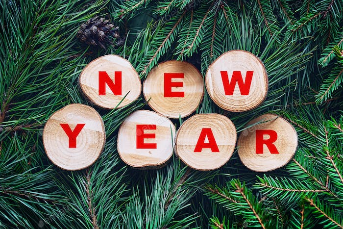 New Year inscription on sections on pine and spruce branches with cones.