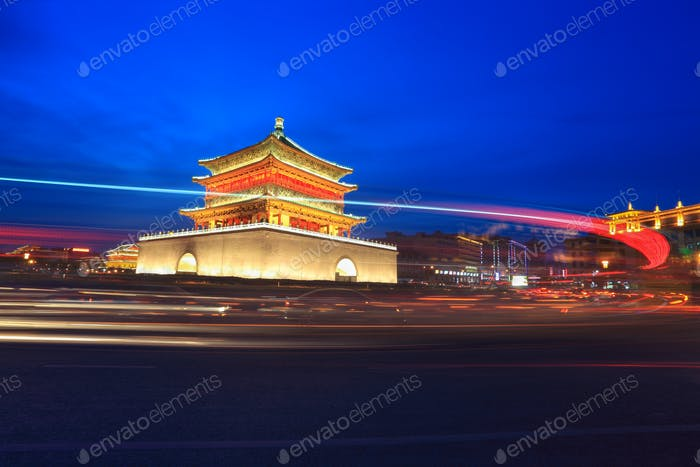 ancient city at night in xian