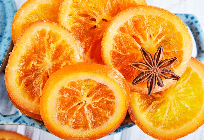 Slices of dried oranges or tangeriSlices of dried oranges or tangerines with anise and cinnamon