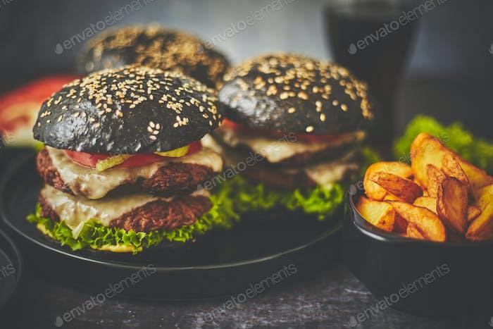 Hamburguesa doble de carne con verduras y queso