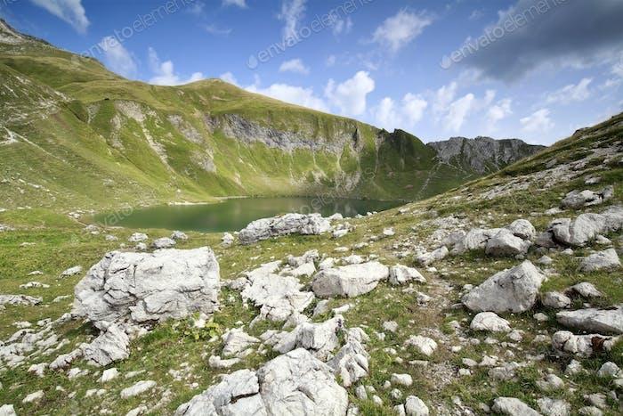 alpine lake on sunny day