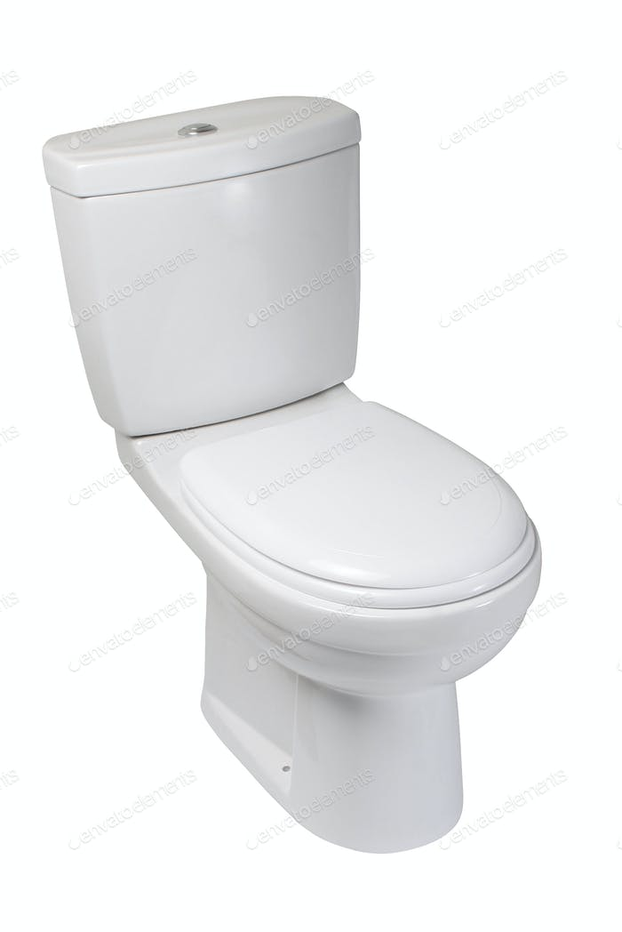 Toilettenschüssel, isoliert auf weiß