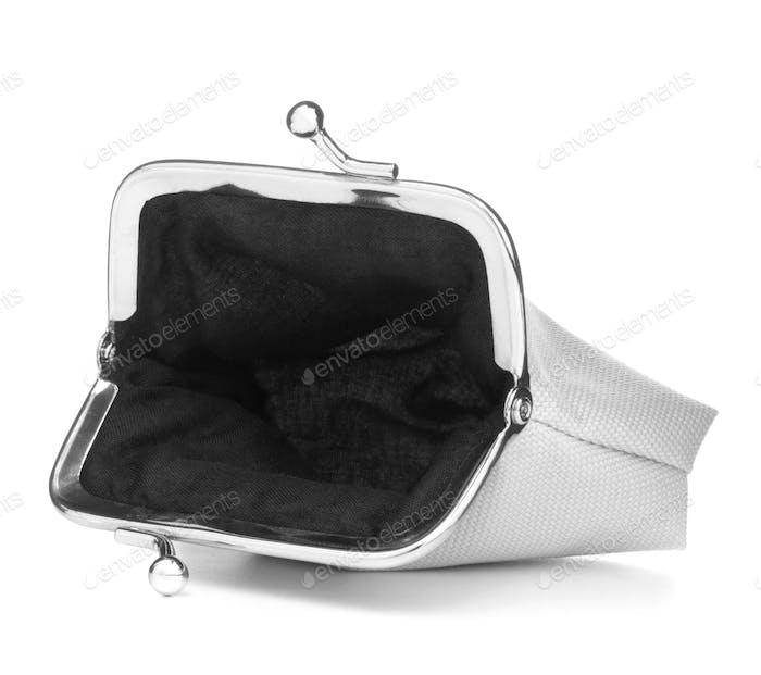 weiße Geldbörse isoliert über weißem Hintergrund. Ladung Geldbörse Öffnen Sie leere Geldbörse..