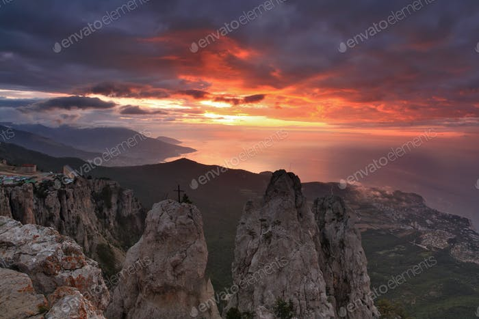 Beautiful views of the Crimean Mountains on sunset background