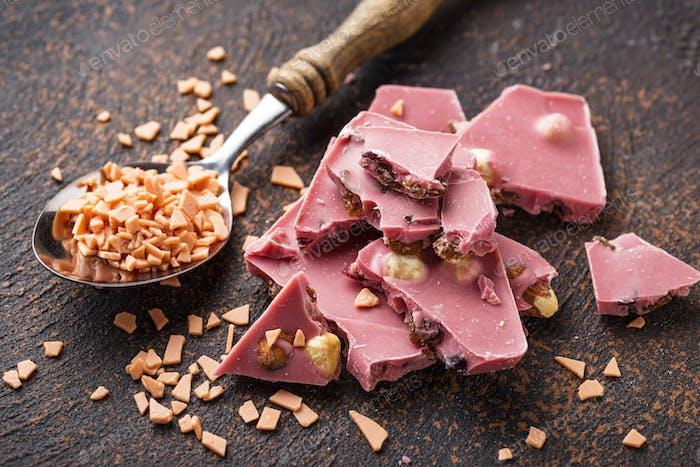 Rosa oder Rubinschokolade, trendiges Essen