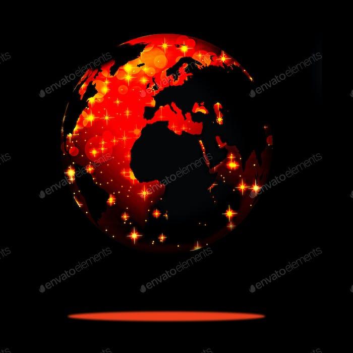 Símbolo de la Tierra del Novedad Año en nuestro planeta. Alegre Año Novedad y M