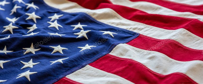 USA flag, US of America sign symbol background, closeup view