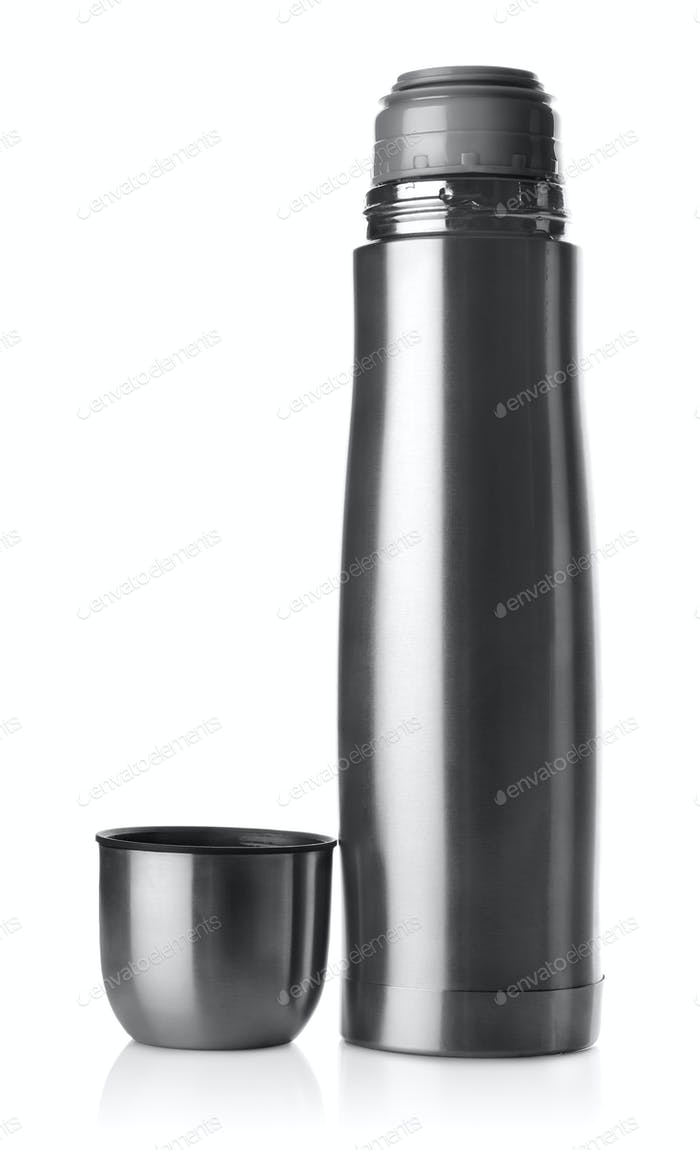 Stainless steel thermos isolated
