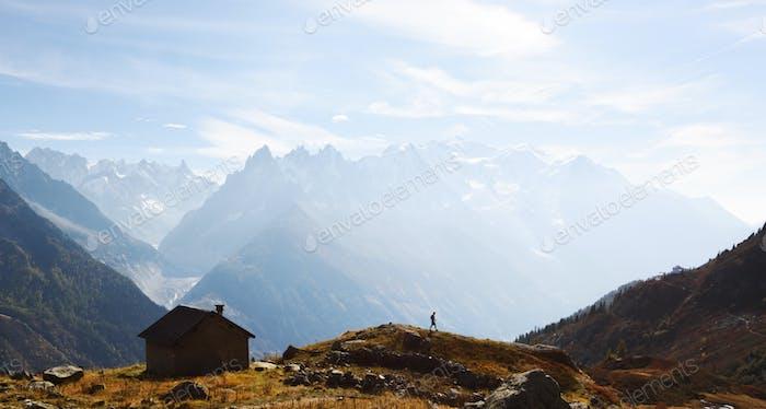 Amazing view on Monte Bianco mountains range