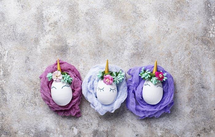 Easter eggs in shape of unicorn