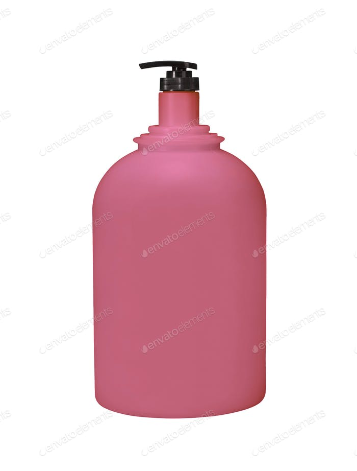 Dispenser Pump Cosmetic Or Hygiene Red, Plastic Bottle Of Gel, Liquid Soap, Lotion, Cream, Shampoo