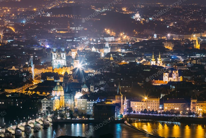 Prague Night Cityscape, Czech Republic. Charles Bridge And Vltav