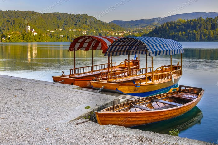 Traditional Pletna boats lake Bled
