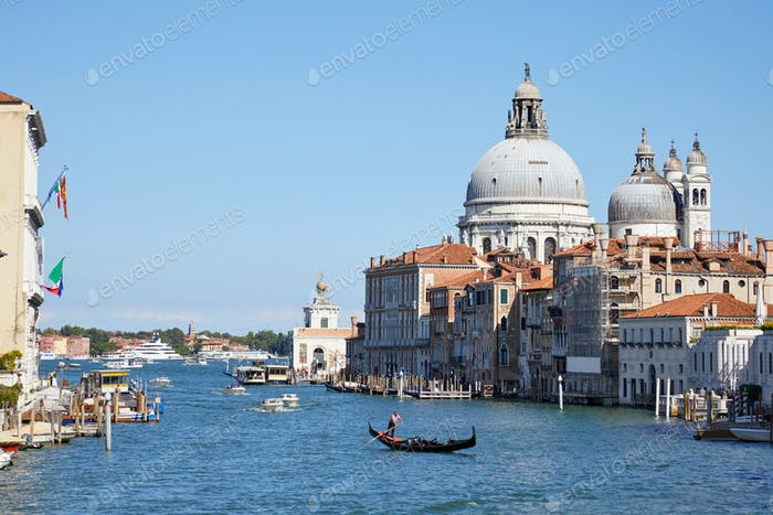 Venice, Saint Mary of Health basilica and Grand Canal in Italy