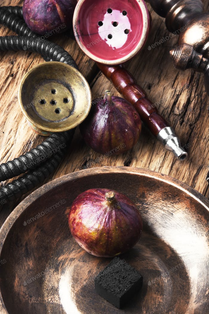 Arabic smoking hookah with figs